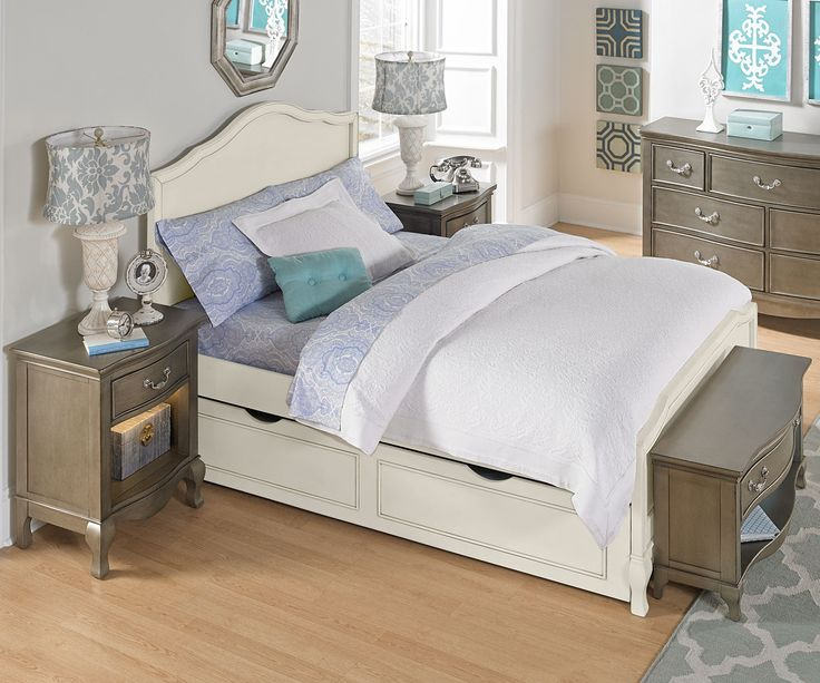 NE Kids Kensington Collection Charlotte Panel Bed Full Size with Trundle 20015 kids bedroom furniture in a White finish
