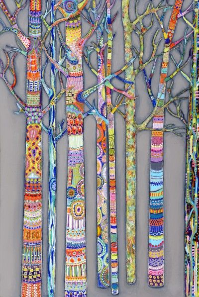 Trees...very cool that it's a collaborative project  #trees #textileart #mixedmediaart                                                                                                                                                      More