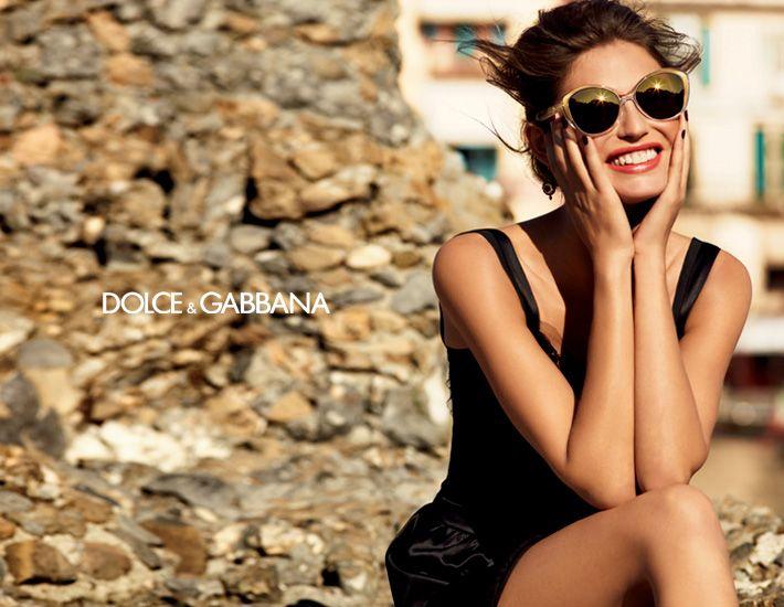 Dolce & Gabbana Gold sunglasses campaign featuring Bianca Balti