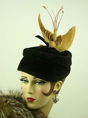Vintage Hat 1940s RARE Lilly Dache Black Velour Ladies Hat with Bird Hat Pin | eBay