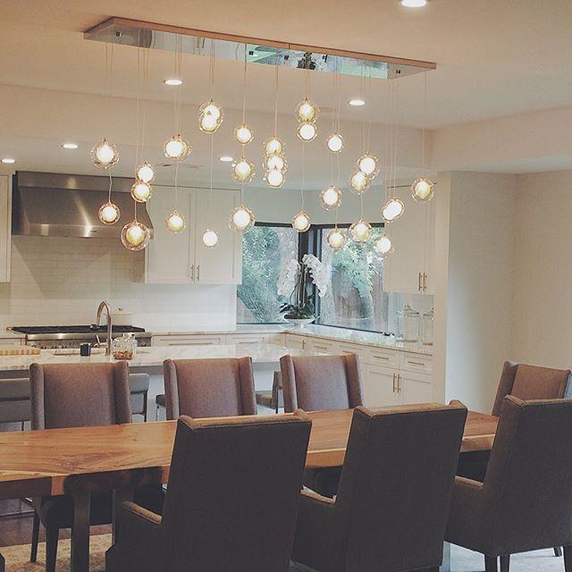 Modern Dining Chandelier Custom Light, Glass Dining Room Light Fixtures