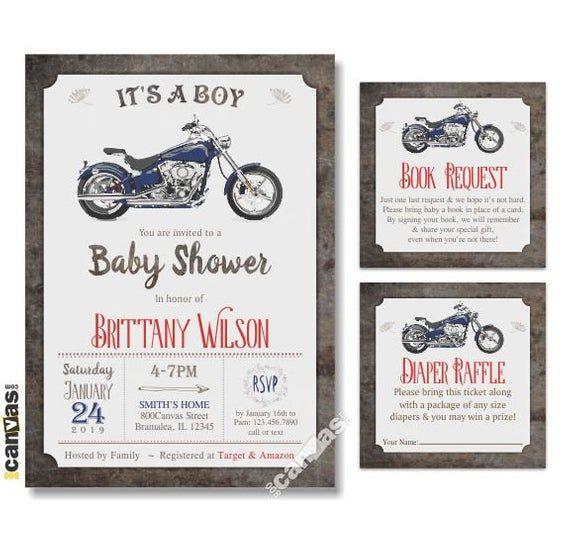 Motorcycle BABY Shower Invitation, Baby Shower Invitation Boy, Baby Boy Shower Invitations, MOTORBIKE Baby Shower Invites. Retro Bike BS159