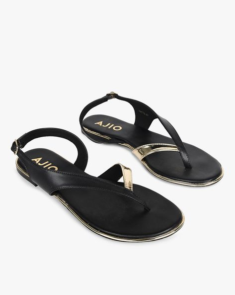 ee5e2aae109 AJIO Black T-strap Colourblock Strappy Flat Sandals