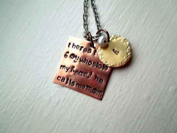 Mother Son Stamped Necklace  Hand Stamped  by SmittenbyKristin