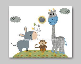 Vivero arte decoración niños decoración bebé vivero pared arte bebé guardería niños imprimir gris de mono azul jirafa verde
