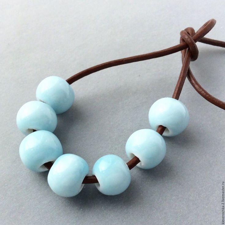 Купить _Керамические бусины 10х9 мм голубые для украшений - ceramic porcelain beads