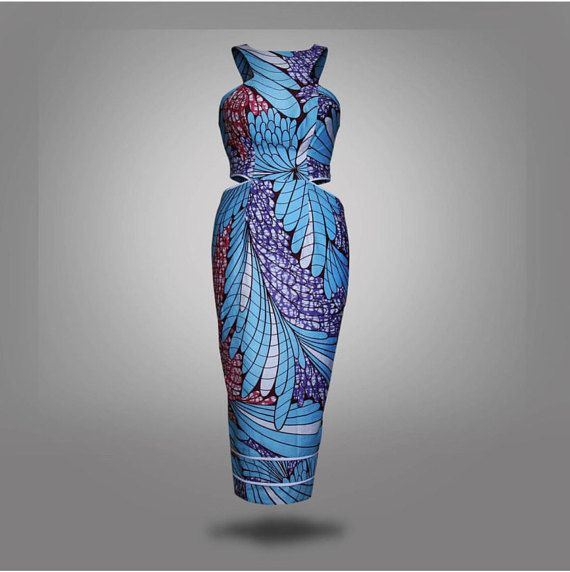 African print cut out dress, knee length, african clothing, african dress, the…