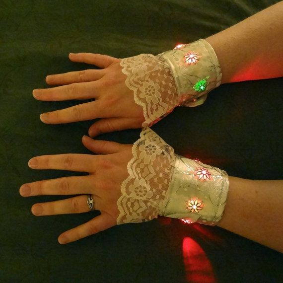 Steampunk Wrist Cuffs/Bracelets with color changing LED lights