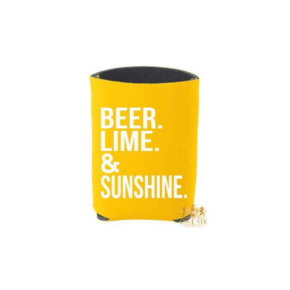 Beer Lime and Sunshine Can Coolers. Beach Please. Bachelorette #beerlimesunshine #beer #lime #sunshine #beach #beachplease #drinkupbitches #cheers #cincodemayo #summer #koozie #koozies #onesixgraphics