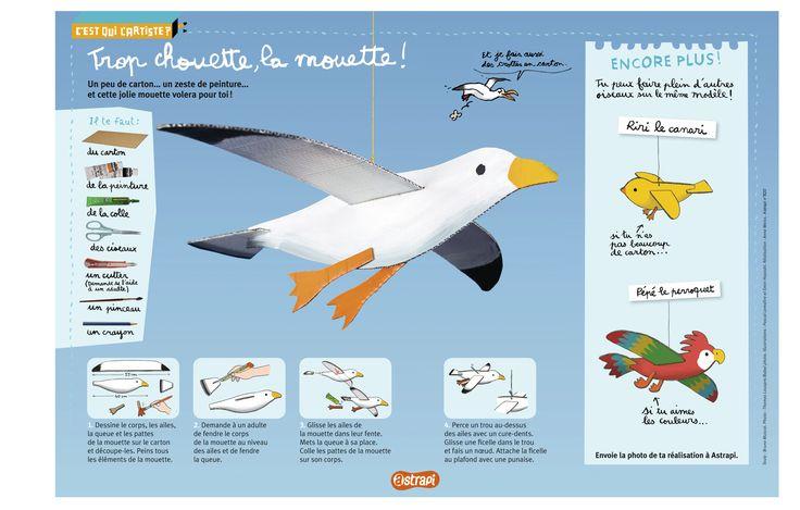 Trop chouette, la mouette ! Un bricolage pour réaliser une mouette, un canari ou un perroquet à partir de carton. (Extrait du magazine Astrapi n°820, pour les enfants de 7 à 11 ans)