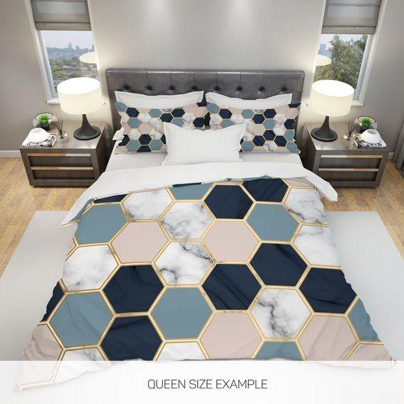 Marble Comforter Modern Comforter Geometric Comforter Queen