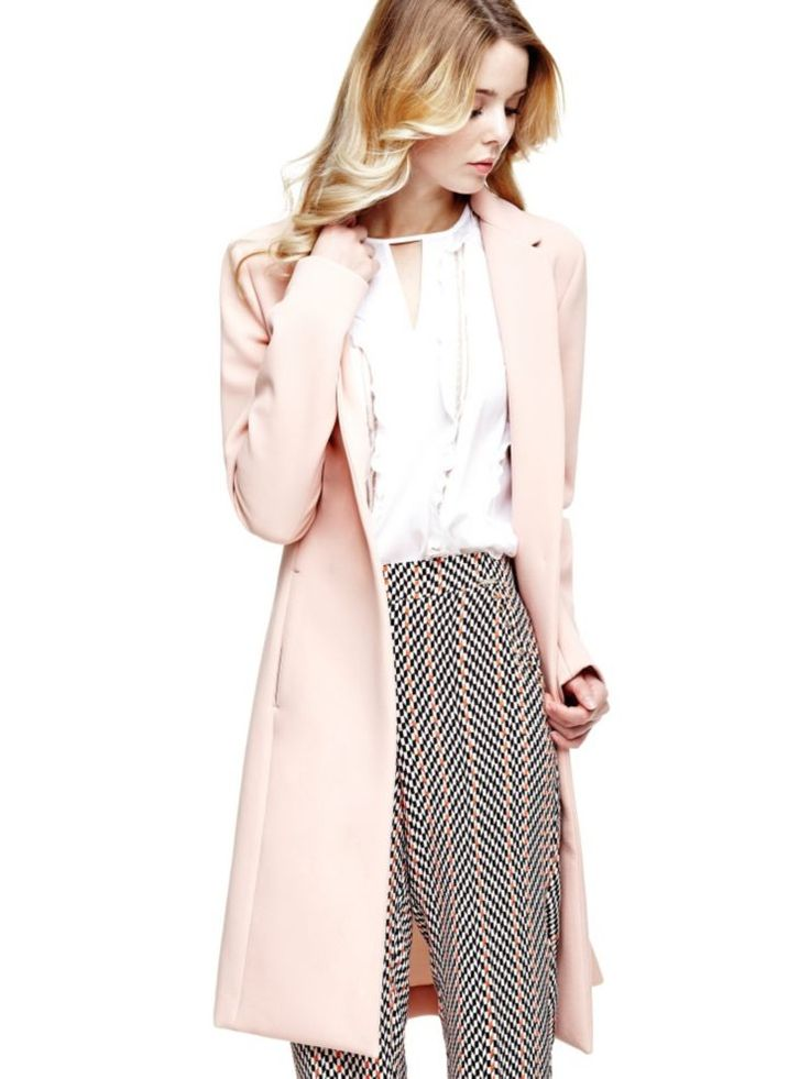 Tendance mode hiver 2017 : Manteau long rose pastel