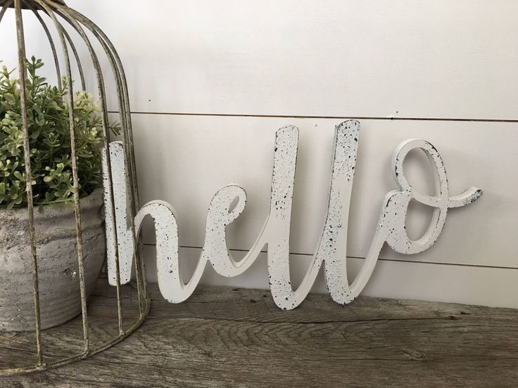 Hello Word Cutout Wall Decor, Hello Cutout, Hello Sign, Hello Cut Out Sign by ChippedWithCharm on Etsy https://www.etsy.com/listing/535404701/hello-word-cutout-wall-decor-hello