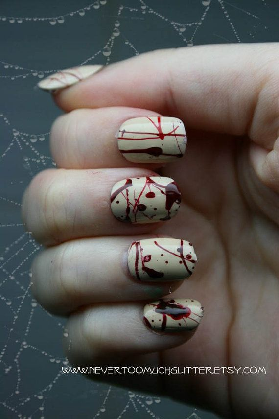Splatter. Gothic Fake Nails, Horror, Goth, Creepy, Blood, Halloween, Short Fake Nails, False Nails Set, Press On Nails, Cosplay, Zombie