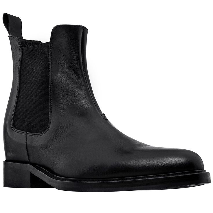 Elevator Boots - New Orleans. Upper in black full grain leather, insole and midsole in genuine leather. Dual elastik silk panel for an easy, comfortable fit. Hand Made elevator shoes in Italy by www.guidomaggi.com/us