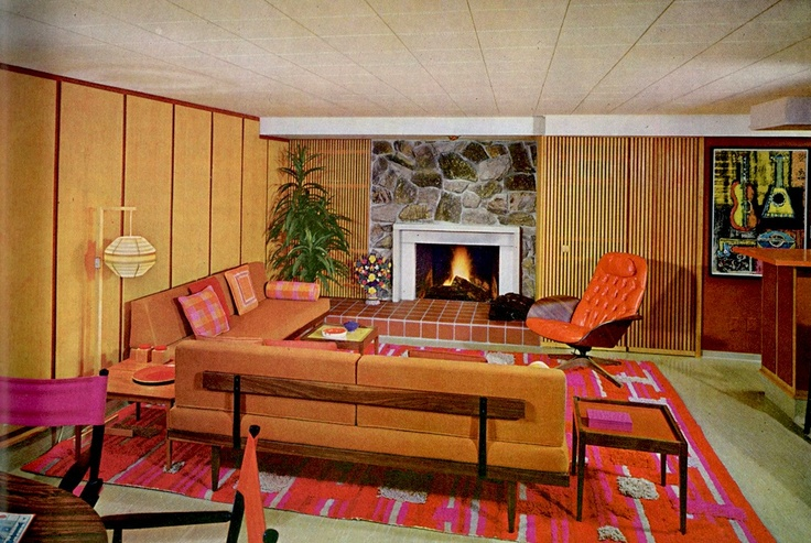 furniture, yes. rug, maybe.: Interior Design, 1970, Interiors, Living Room, Mid Century, Homes, Photo, Home Improvements