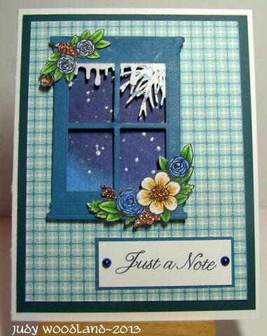 """Soft Snowfall - neat use of the window; also like the plaid """"wallpaper""""."""