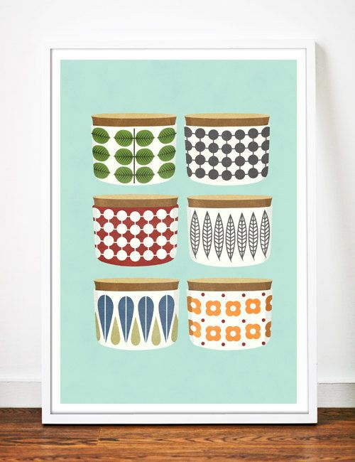 A4 Kitchen art print Retro Kitchen Cooking by OldBrandNewPrint, $17.00~the connected dots?