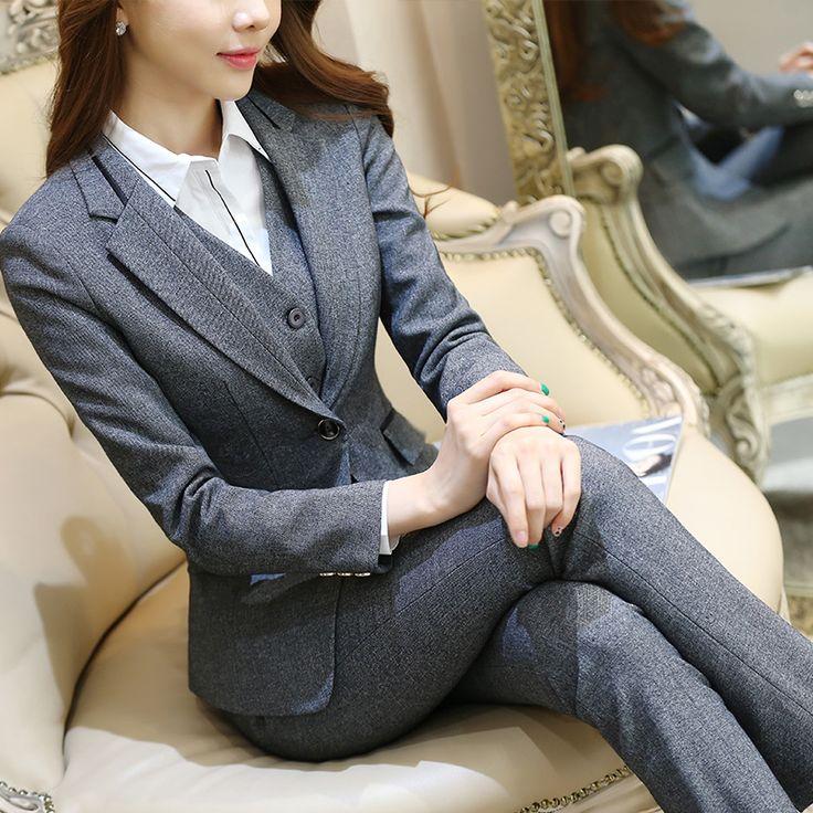 Formele Dames Office OL Uniform Ontwerpen Vrouwen elegante Dark Business grijs broek Past Werkkleding Jas met Broek 2 stuk Sets