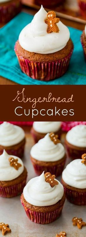 Spiced gingerbread cupcake recipe with tangy, sweet cream cheese frosting. Moist and flavorful, these homemade cupcakes are the perfect treat during the holidays! Recipe on http://sallysbakingaddiction.com