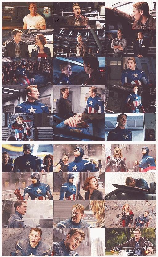 Captain American through the Avengers