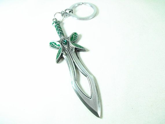 Key Chain Ring Dota 2 Butterfly Sword Green  Mens by AGothShop