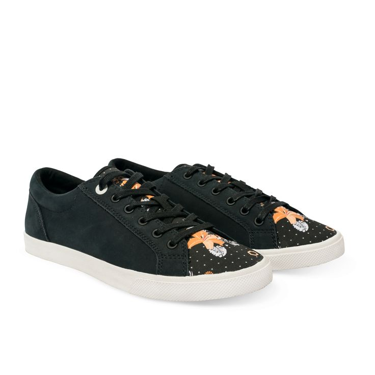 """Allow the imagery of Taka Cooper's """"Tropics"""" shoe whisk you away to paradise. This black leather and canvas low-top—with flashes of floral designs along the tongue—gives the easy feeling of a breezy, tropical night. <ul><li>Lace-up silhouette</li><li>Leather and canvas materials</li><li>Artist-design screen print on canvas</li><li>100% cotton lining</li><li>Arch vents for enhanced airflow</li><li>Cushion & comfort bubbles</li><li>Removable in-sole</li></ul>"""