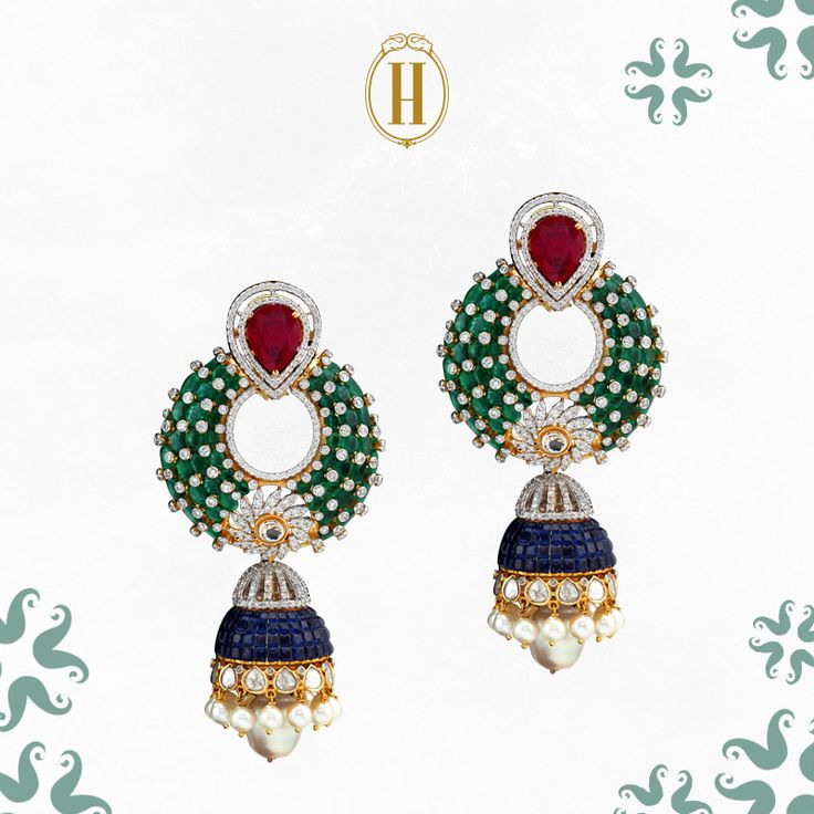 Wedding Revelry: For nights you want to make a statement. #HazoorilalLegacy #Hazoorilal #Jewelry #Earrings #Jhumkis