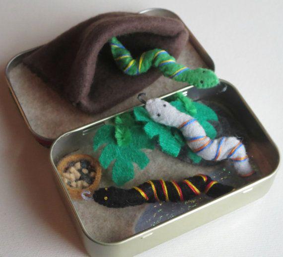 Snake miniature felt plush Altoid tin play set with por wishwithme