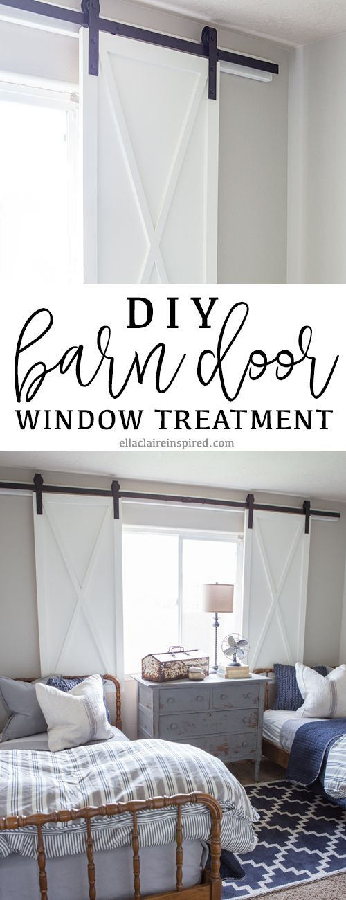 Learn how to make these DIY barn door window treatments