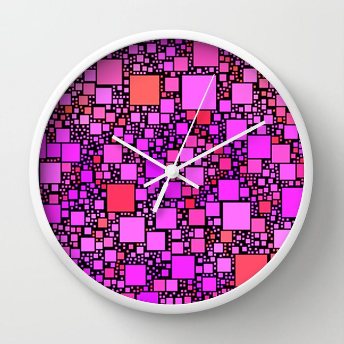 Post It Pink Wall Clock - $30.00  #clock #wallclock #time #pink #squares #geometric #contemporary #pattern #homedecor #roomdecor