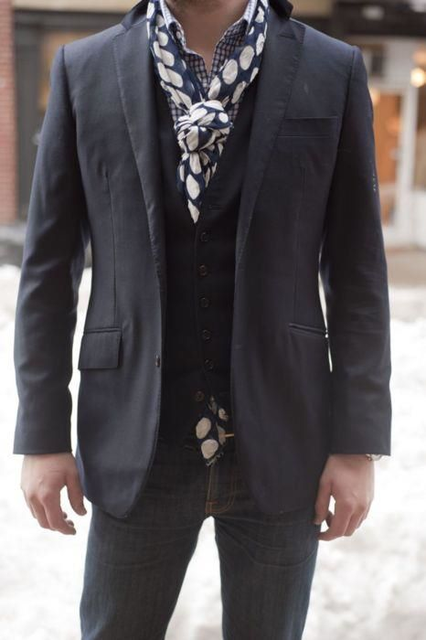dig polka dot scarf with gingham shirt combo. mens fashion style accessories