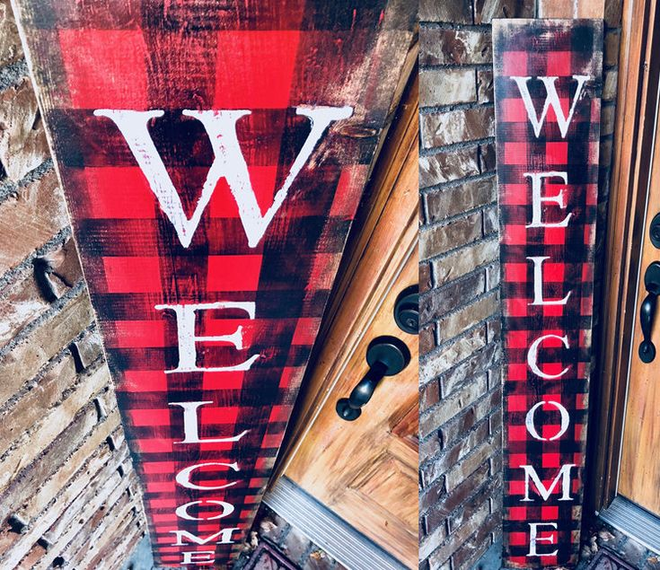 BUFFALO CHECK WELCOME sign, welcome sign, front porch welcome sign, rustic welcome sign, lodge sign, rustic decor, cabin decor, christmas by NativeRange on Etsy https://www.etsy.com/listing/576511909/buffalo-check-welcome-sign-welcome-sign