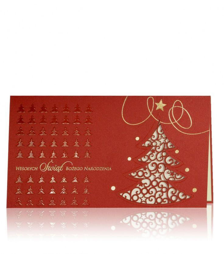 Czerwony perłowy papier z drukowaną złotą półprzezroczystą termografią. Cała kartka wygląda bardzo luksusowo z laserową rzeźbioną choinką, gdzie pięknie kontrastuje z jasnym wewnętrznym papierem. Tekst na froncie i ozdoby są nadrukowane w kolorze złotym. Delikatności dodają małe choinki nadrukowane na kartce.
