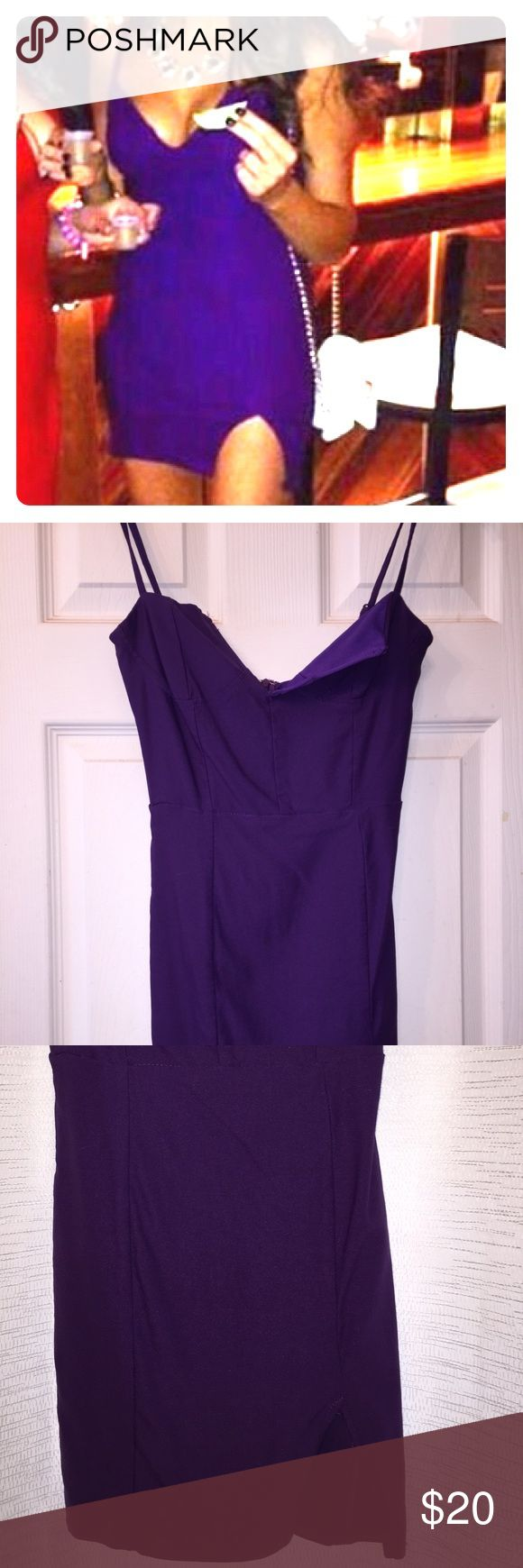 Tobi Purple Bodycon Dress Only worn once! Size Small. 65 % Viscose 30% Nylon 5% Elastane. Fits really well but is a short dress!! Tobi Dresses Mini