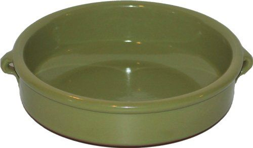 Amazing Cookware Plat rond en terre cuite Vert olive 20cm: Suitable for use with ovens, gas & electric hobs, microwaves, agas and…