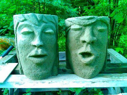 potheadz lol i just luv playin in tha mud these are concrete planters that i, concrete masonry, gardening, Two Original Face Planters by Rhonda