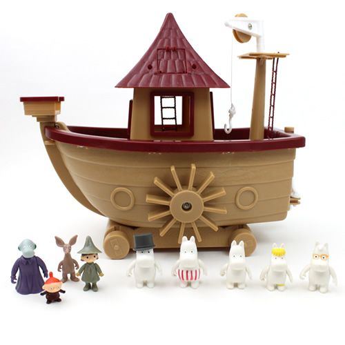 Finland Martinex Inc.-made Moomin boat-with 9 figures of the Moomin family ~
