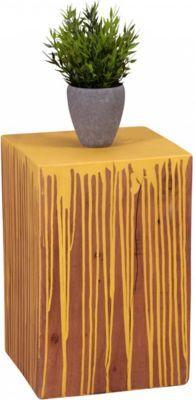 Wohnling WOHNLING Beistelltisch Vollholz Akazie Farbverlauf Gelb Wohnzimmertisch Retro Stil Couchtisch Massiv Unikat Echtholz Jetzt