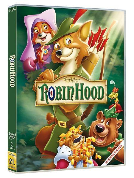 Robin Hood -dvd. Robin Hood ottaa rikkailta ja antaa köyhille. Kerta toisensa jälkeen Robin, Pikku John, Munkki Tuck ja iloiset veikot keksivät uusia kepposia ahneen Prinssi Juhanan ja Nottinghamin sheriffin kiusaksi.