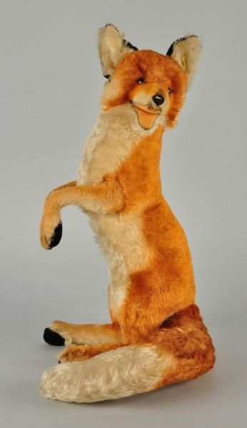 """Steiff's Studio Red Fox.  33"""" long.  Loss to mouth (teeth, tongue). FAO Schwarz exclusive 1962-1971.  Morphy auction."""