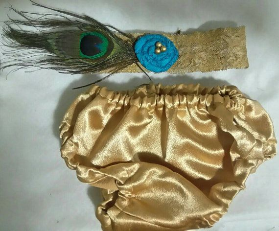 Newborn+Peacock+Feather++and+Gold+Lace+by+GeminiiRushDesigns