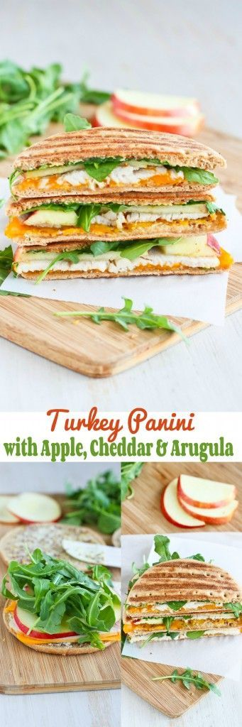 Turkey Panini with Apple, Cheddar & Arugula... The perfect lunchtime sandwich! 235 calories and 7 Weight Watchers PP | cookincanuck.com #recipe