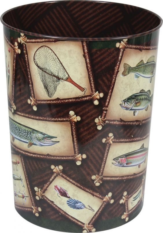 This Fishing Trash Can features art by JQ Licensing. This fishing themed tin waste basket is almost too nice to put trash in! Features art on both inside and outside. Add a small plastic bag and you h✖️More Pins Like This One At FOSTERGINGER @ Pinterest✖️