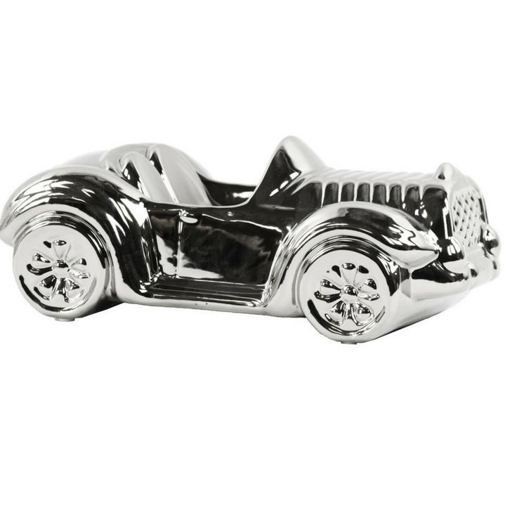 """$34.99  Car Figurine  Polished Chrome Finish Silver Product Size: 10.00""""x5.50""""x4.00""""H Material and Color: Ceramic Silver Style#: 21224 One Piece Chrome Finish  Latestliving.com"""