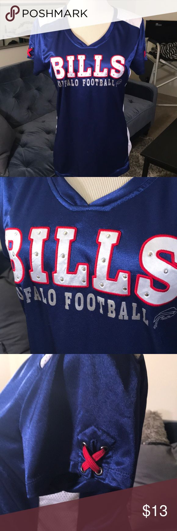 Studded Buffalo BILLS Jersey 🏈 Studded BUFFALO BILLS women's jersey, size medium. Fits like a small. Worn once for a game. NFL Apparel Tops Tees - Short Sleeve