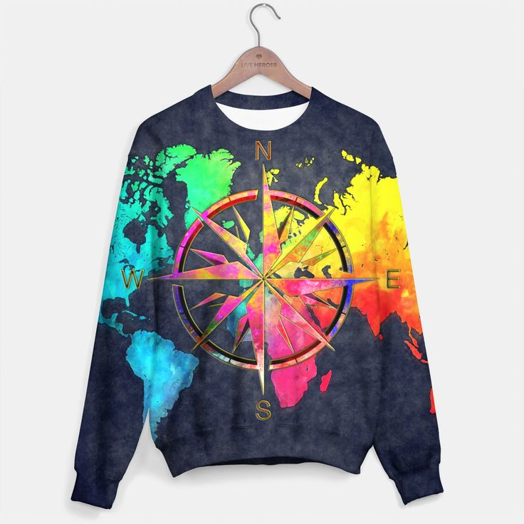 world map wind rose Bluza, Live Heroes