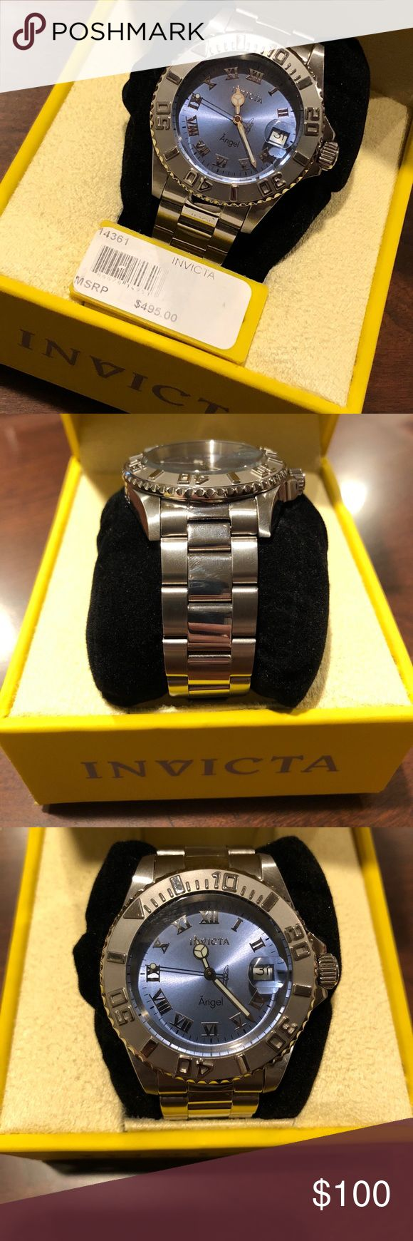 Women's Invicta Watch Stainless Steel band with a baby blue watch face. Equipped with a screw crown to prevent water infiltration. Battery powered. Extra links are available if wrist size needs increased. Invicta Jewelry