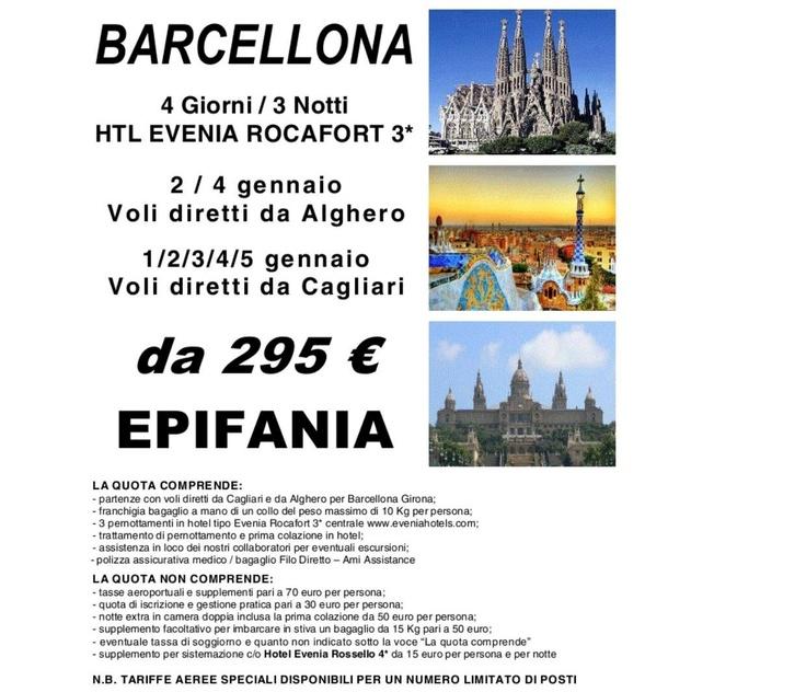 Epifania a Barcellona con partenze da Cagliari e Alghero