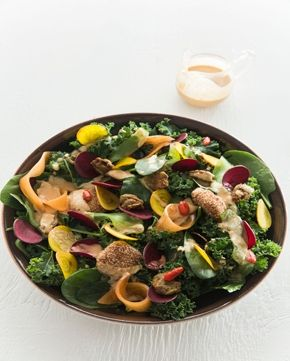 Super food salad with cashew nuggets and ginger dressing